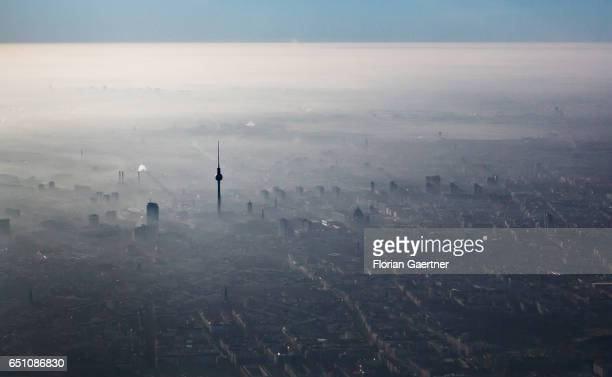 Berlin is pictured during a foggy morning on February 15 2017 in Berlin Germany