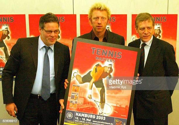 PRESSEKONFERENZ 2002 Berlin KAMPS Neuer Sponsor der Masters Series am Rothenbaum vli Heiner KAMPS Boris BECKER Georg Freiherr von WALDENFELS