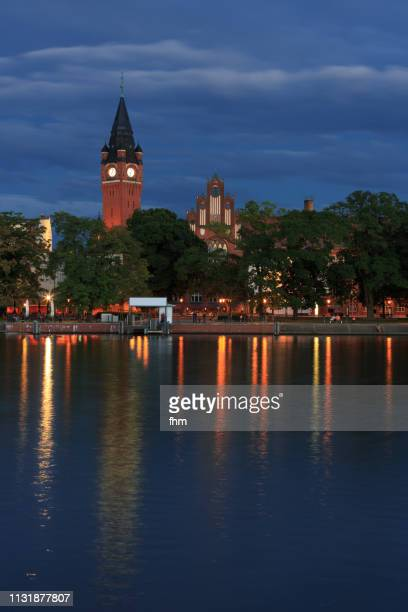 berlin köpenick old town at blue hour (berlin, germany) - köpenick stock pictures, royalty-free photos & images
