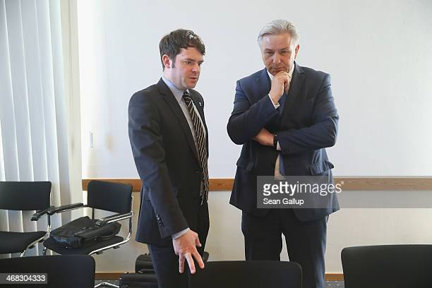 Berlin Mayor Klaus Wowereit and Bjoern Boehning head of the Senate Office arrive for a session of the Legal Commission of the Berlin city parliament...