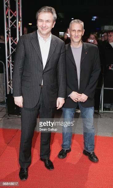 "Berlin mayor Klaus Wowereit and his partner Joern Kubicki arrive at the premiere of ""The Red Cockadoo"" at the Berlinale, Berlin's international film..."