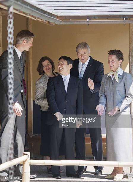 Berlin mayor Klaus Wowereit and HRH Crown Prince Naruhito of Japan visit the Japanese Garden at the Gaerten der Welt gardens in Marzahn district on...