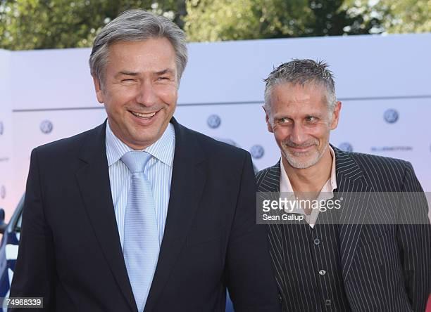 Berlin Mayor Klaus Wowereit and partner Joern Kubicki attend a reception hosted by Volkswagen ahead of a concert by American singer Barbra Streisand...