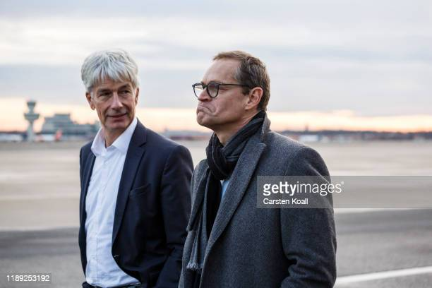 Berlin Mayor Michael Mueller and Frank Naegele State Secretary for Administrative and Infrastructure Modernization walk on the grounds of Tegel...