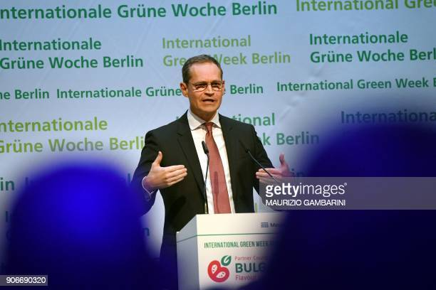 Berlin Mayor Michael Mueller gives a speech during the launching ceremony of the International Green Week agricultural fair in Berlin on January 18...