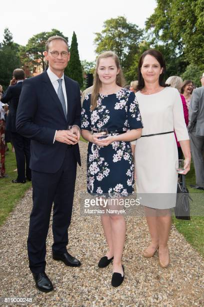Berlin Mayor Michael Mueller Nina Mueller and Claudia Mueller attend The Queen's Birthday Party at the British Ambassadorial Residence on the first...