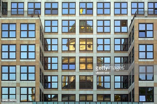 Mirror image of the Deutscher Dom in the modern architecture building of Quartier 205
