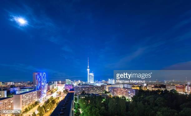 Berlin Modern Summer Night Skyline with Moon and Stars