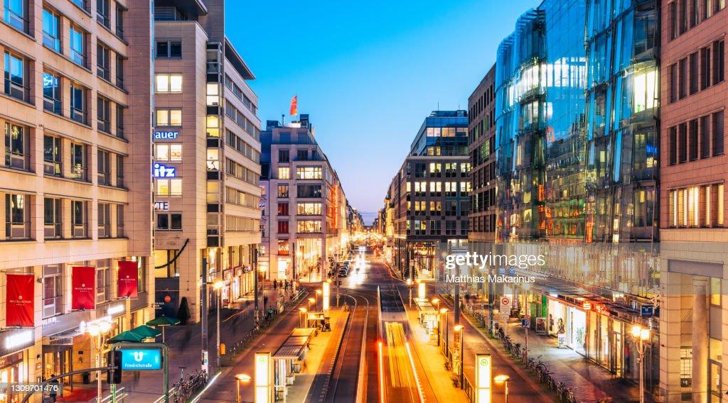Berlin Modern Urban City Night Skyline with Traffic and Citylife : ストックフォト