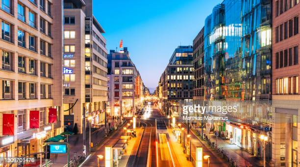 berlin modern urban city night skyline with traffic and citylife - ベルリン ミッテ区 ストックフォトと画像