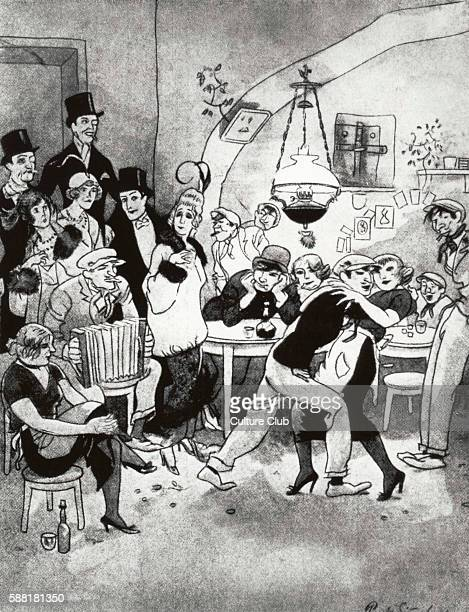 Berlin night club in 1920 Vornehme Gäste in der Kaschemme satirical cartoon by Simmel Caption reads Toffs come slumming in a drinking dive The woman...