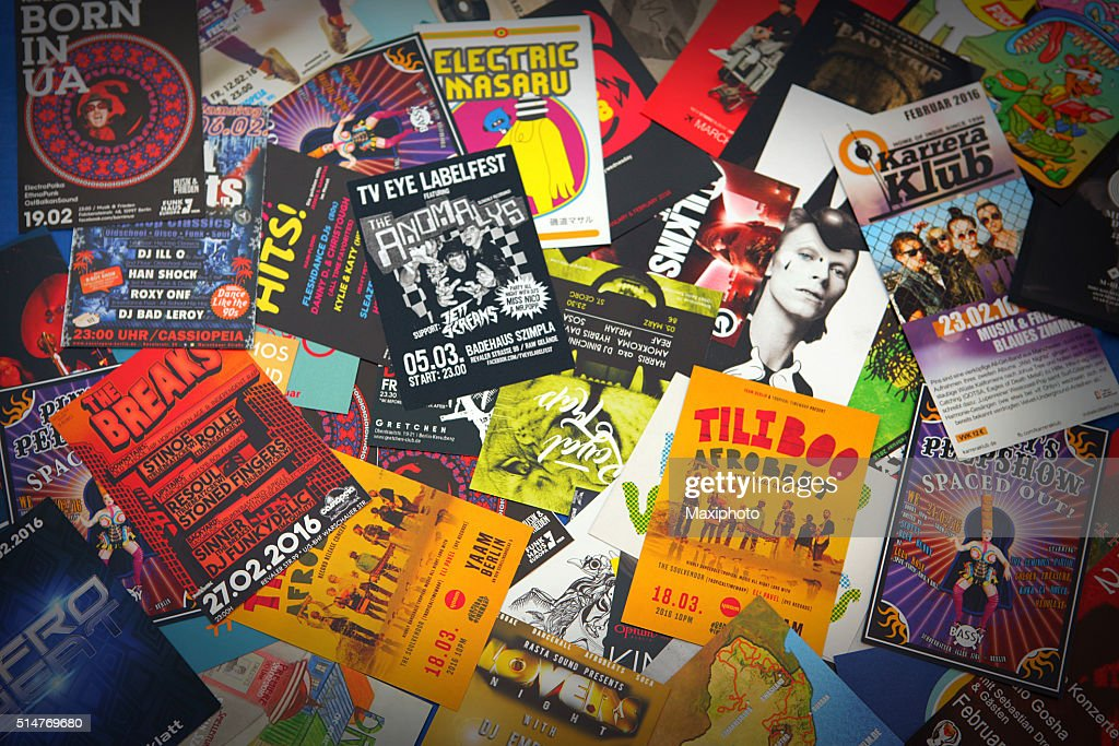 Berlin nightlife and music scene: flyers, leaflets and advertisements : Stock Photo