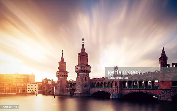 Berlin Oberbaum bridge with dramatic sky