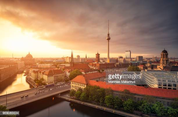 Berlin Panorama Summer Sunset Skyline with TV Tower