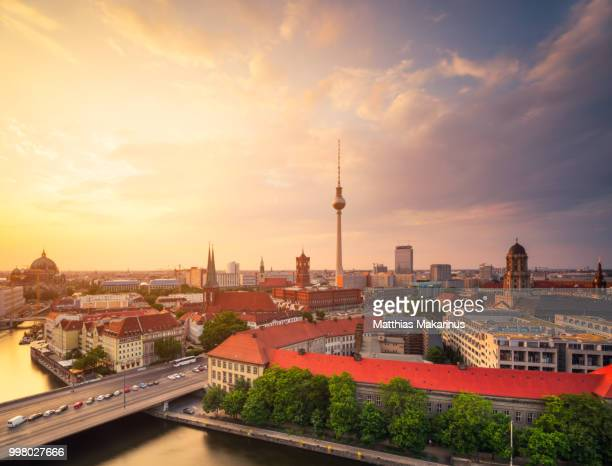 berlin panorama summer sunset skyline with tv tower - berlin stock pictures, royalty-free photos & images