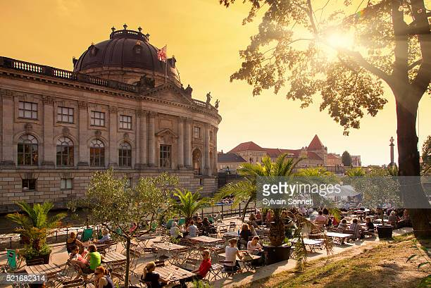 berlin, people relaxing at monbijoupark - central berlin stock photos and pictures