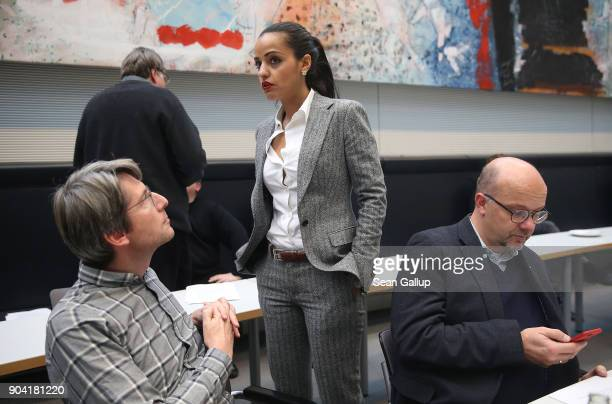 Berlin politician and member of the German Social Democrats Sawsan Chebli chats with colleagues as she attends a meeting of the SPD Bundestag faction...