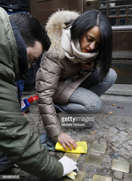 Berlin politician Sawsan Chebli who is of Palestinian origin participates in the spring cleaning of Stolpersteine memorials to Holocaust victims on...
