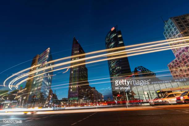 berlin, potsdamer platz at dusk - sony center berlin stock pictures, royalty-free photos & images
