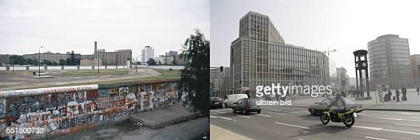 Potsdamer Platz left Berlin wall at Potsdamer Platz view to Leipziger Strasse 1084 right Potsdamer Platz 2008