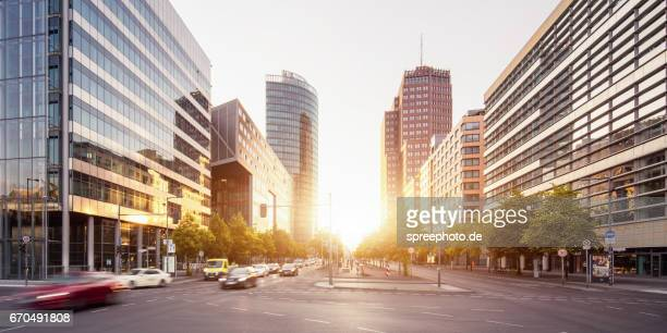 berlin potsdamer platz skyline at sunrise - potsdamer platz stock pictures, royalty-free photos & images