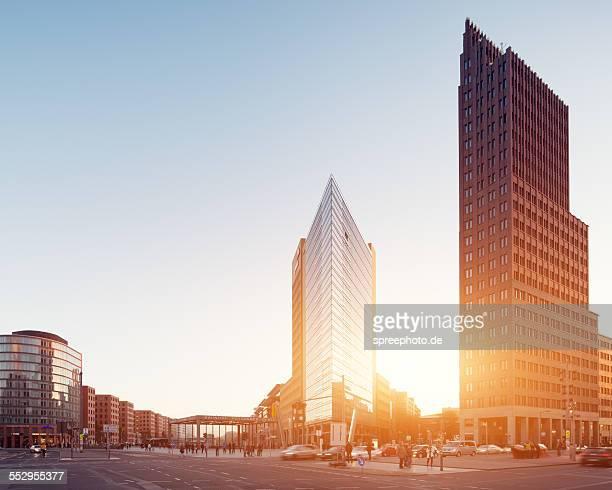 berlin potsdamer platz with sunset - potsdamer platz stock pictures, royalty-free photos & images