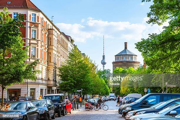 berlin prenzlauer berg with tv tower - central berlin stock photos and pictures