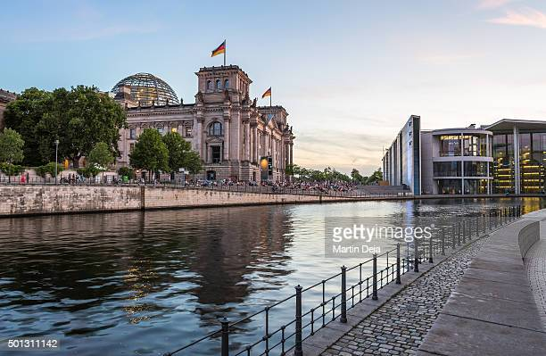 berlin reichstag and spree river - spree river stock pictures, royalty-free photos & images