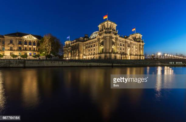 Berlin, Reichstag building near Spree River at blue hour (german parliament building) - (Berlin, Germany)