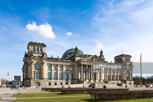 Berlin, Reichstag building with famous television tower (Berlin, Germany)