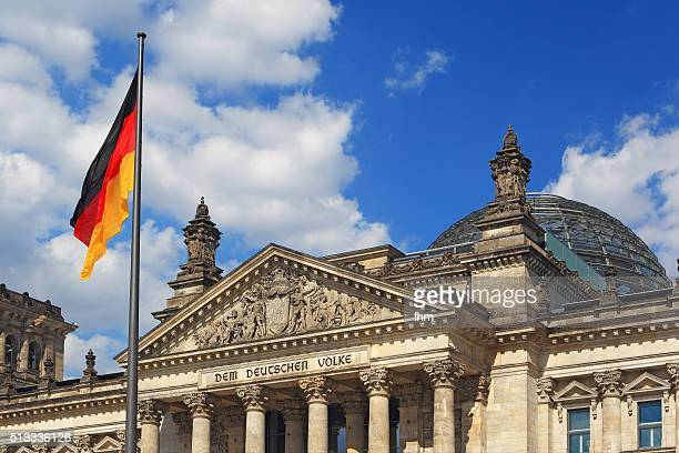 Berlin, Reichstag building (german parliament building) with German flag