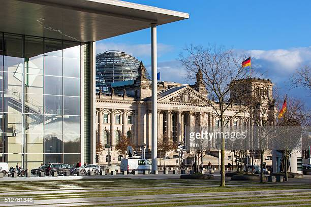 Berlin, Reichstag building (german parliament building) with modern facade of an office building
