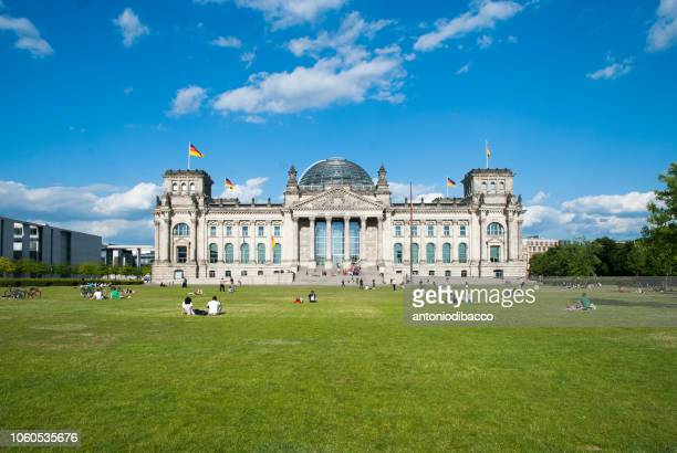 berlin - reichstag german parliament building (front) - bundestag stock pictures, royalty-free photos & images