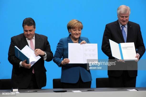 Berlin Reichstag Jakob Loebe Haus die schwarz rote grosse Koalition unterschreibt zum 2 Mal nach dem erfolgreichen SPD Mitgliedervotum den...