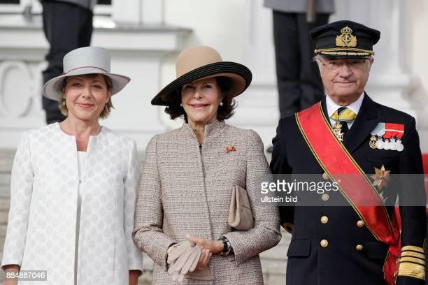 Berlin Schloss Bellevue Staatsbesuch Ihrer Majestäten König Carl XVI Gustaf und Königin Silvia von Schweden Foto Frau Daniela Schadt Königin Silvia...