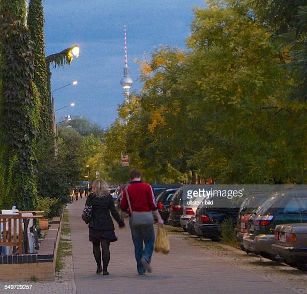 Berlin, Schwedter Strasse, Blick Richtung Mauerpark, Fernsehturm, Peitschenlampen der ehem. Grenzbefestigung