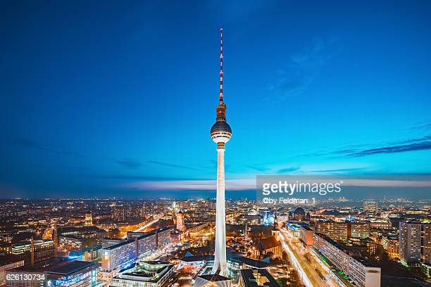 Berlin Skyline at dusk with TV tower