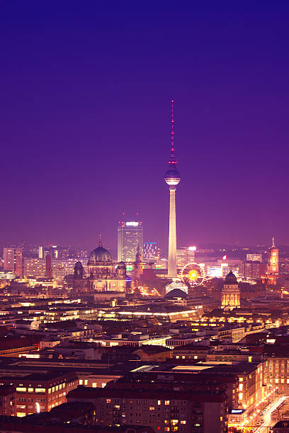 Berlin Skyline At Night, Dom And Tv Tower Wall Art