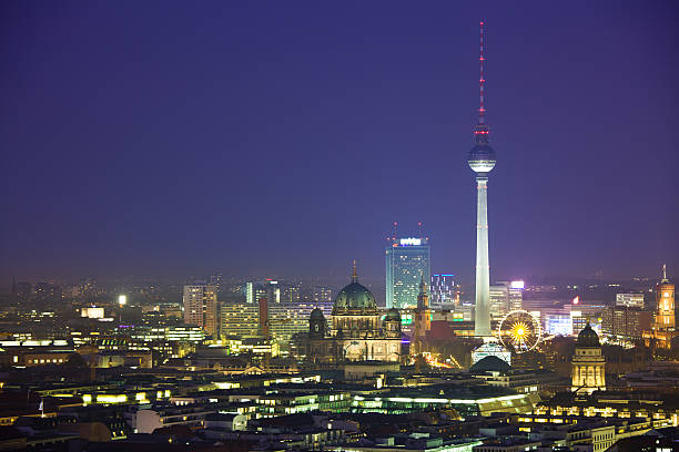 """Berlin Skyline At Night, Dom And Tv Tower"" Wall Art"