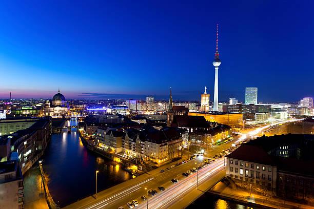 Berlin Skyline At Night Wall Art