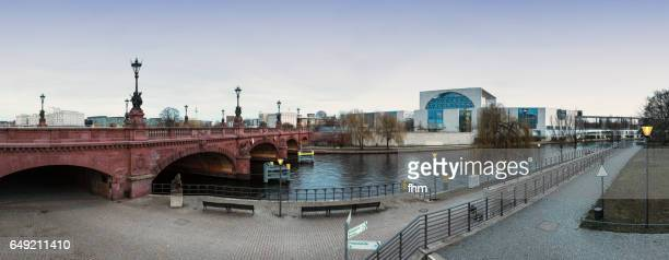 Berlin skyline at Spree river: Moltkebrücke and german chancellery, Television-tower and Reichstag-dome in the background (Berlin, Germany)