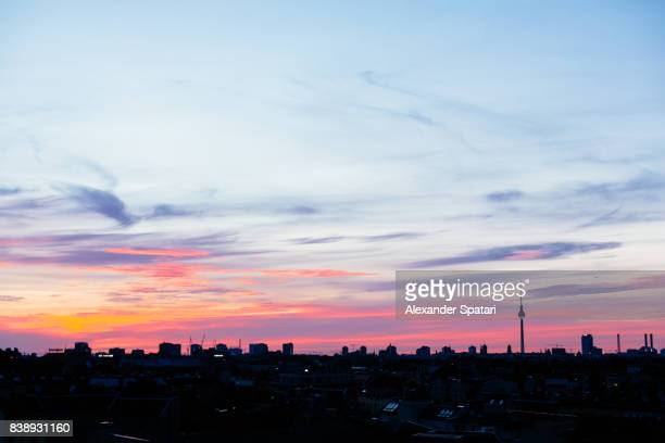Berlin skyline at sunset, Berlin, Germany