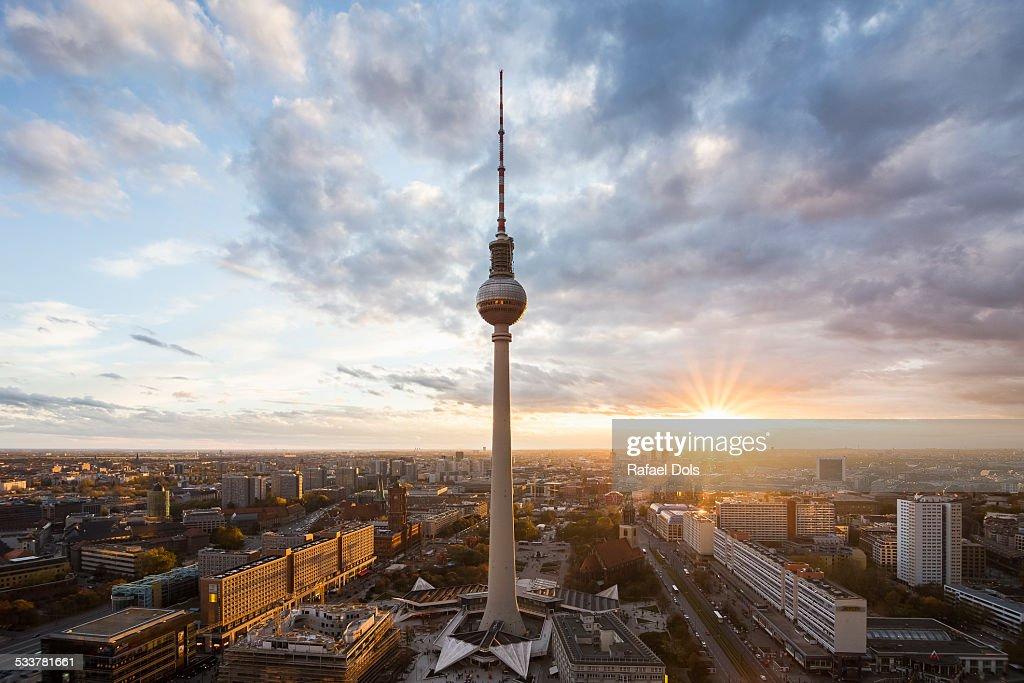 Berlin skyline at sunset : Foto stock