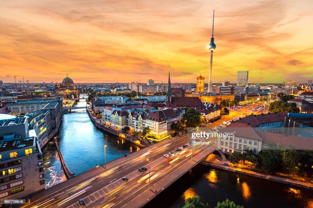 Berlin Skyline at sunset : Stock Photo