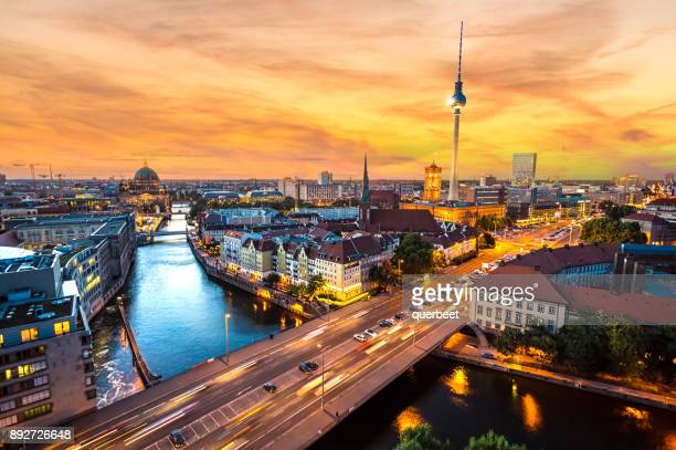 berlin skyline at sunset - berlin stock pictures, royalty-free photos & images
