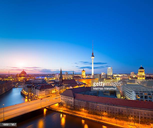 berlin skyline cityscape in germany, europe - makarinus stock photos and pictures