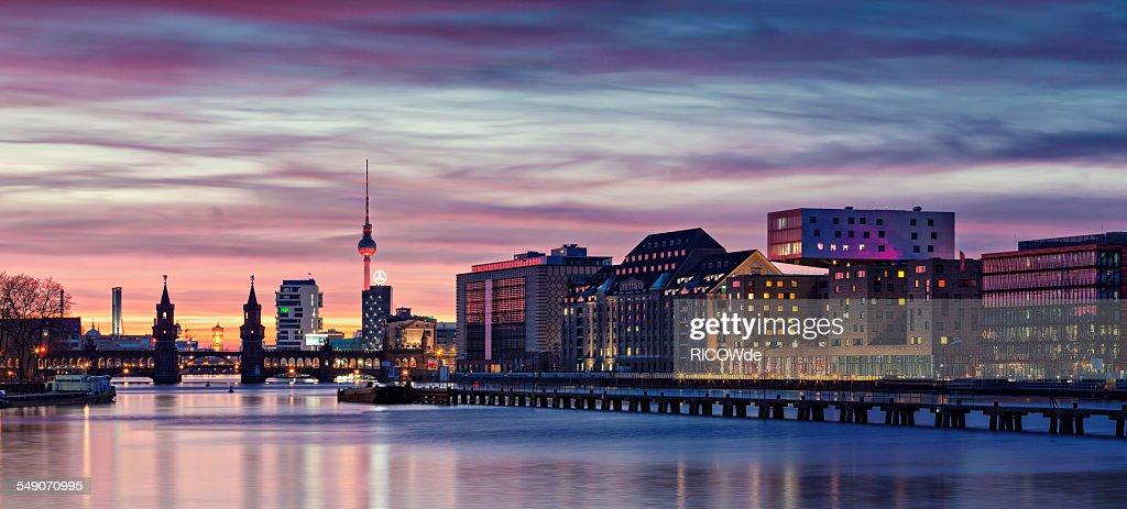 Berlin Skyline in a cloudy sunset : Stock Photo