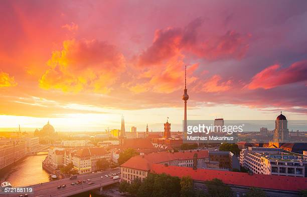 berlin skyline in a cloudy sunset - central berlin stock photos and pictures