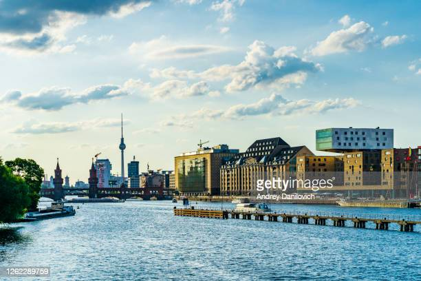 berlin skyline in sunset - spree river stock pictures, royalty-free photos & images