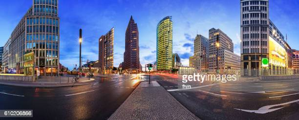 berlin skyline panorama potsdamer platz - potsdamer platz stock pictures, royalty-free photos & images